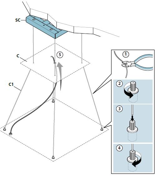 Falmec Verlängertes Montage-Seil für E.ion® Inselhauben